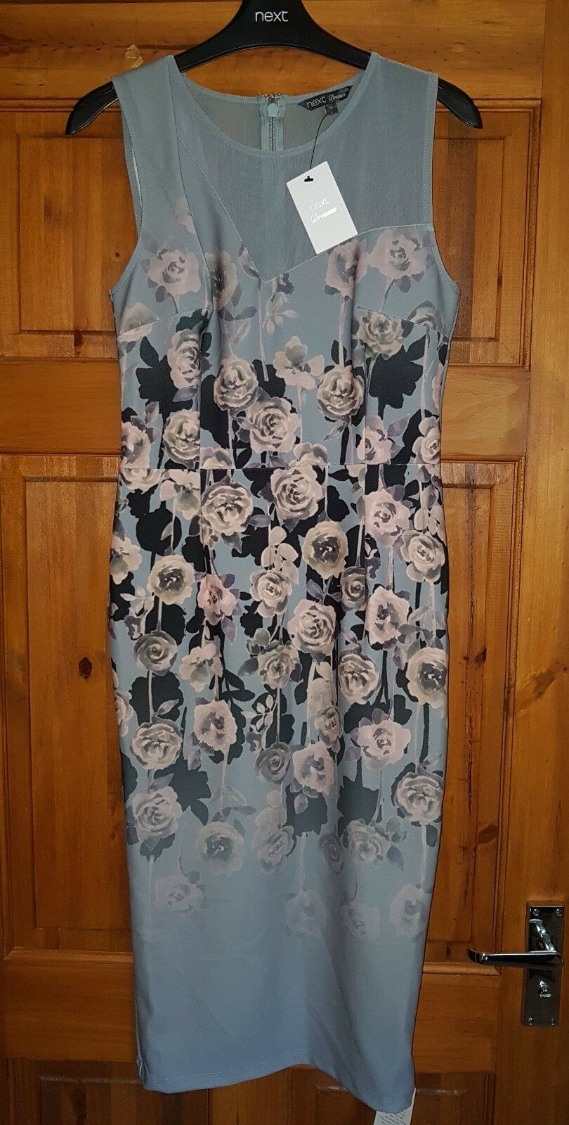 NEXT BEAUTIFUL GREY PATTERNED AUTUMN BODYCON DRESS NEW WITH TAG
