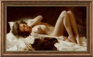 """Hand painted Original Oil painting art Portrait nude girl on Canvas 24""""X40"""""""