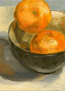 5x7-PRINT-2-Clementines-and-a-bowl-fruit-still-life-foodie-oil-painting