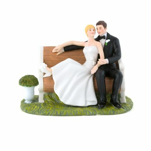 Sitting Pretty On A Park Bench Porcelain Wedding Cake Topper