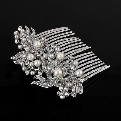 beautiful elegant wedding  bridal hair comb pearl and crystal 1409 march
