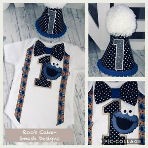 Details About Cookie Monster Luxury Baby Boys 1st Birthday Cake Smash Party Outfit 12 18
