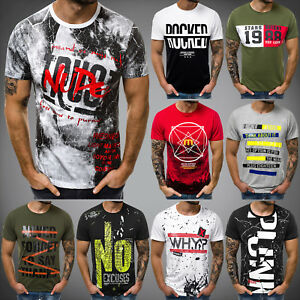 T-Shirt-Kurzarm-Shirt-mit-Motiv-U-Neck-Slim-Fit-Fitness-OZONEE-9037-MIX-Herren