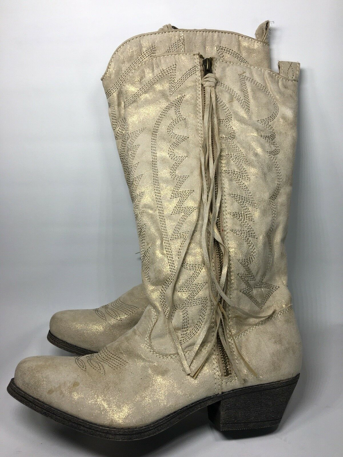 Buckle Store Fabric Upper Western Cowgirl Boots Beige gold Sz 10