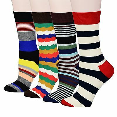 Fitu Women's 4 Pairs Pack Combed Cotton Crew Socks with Gift Box Striped Floral