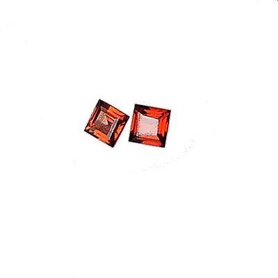 2Pc Natural Almandine Garnet (clean, square cut- 3mm X 3mm each)