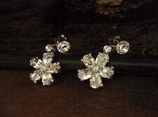 Vintage Butler & Wilson Crystal Flower and Tiny Pearl Pierced Earrings