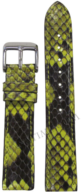 Hadley Roma 16mm Ladies Genuine Python Padded Stitched Watch Band Lime