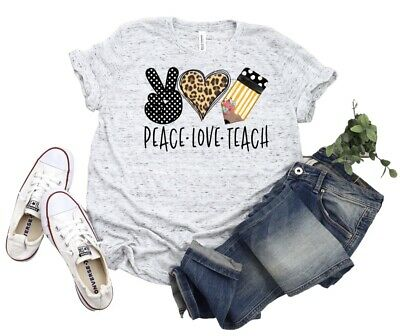 Peace Love Teach Apple School Educator Teacher Tshirt