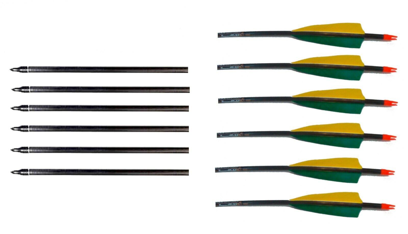 6 Carbon Komplettpfeile Easton Powerflight mit Naturbefiederung Spine 500 GG