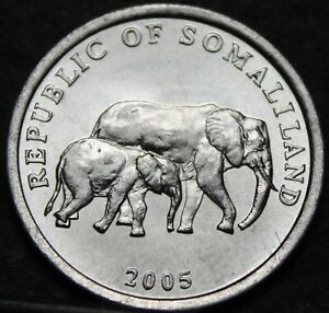 Somaliland 5 Shillings, 2005 Gem Unc~Elephant Mother With Calf~Only Year Minted~
