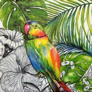4 x Single Paper Napkins Decoupage Crafting Table Jungle Parrot Bird 50