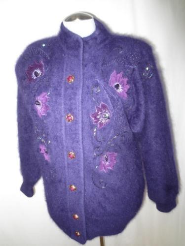 Amazing Fluffy Furry lila  Angora bildigan tröja Lined täcka Embellide