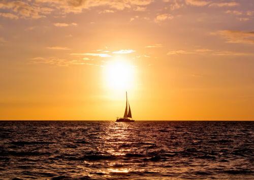 Sailing Boat at Sunset 2411 Print//Poster