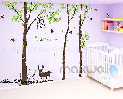 Giant Forest Deer Monkey Bird Tree Wall Decals Vinyl Sticker Kids Nursery Decor