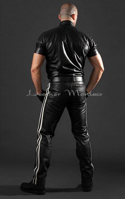 Jeans in pelle con Weissen righe pantaloni pantaloni pantaloni in pelle vita bassa cecdb7