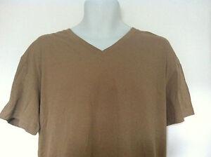Polo-Ralph-Lauren-Sleepwear-T-Shirt-Beige-Blue-Logo-VNeck-100-Cotton-Size-L-NWT