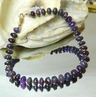 Rare Genuine Natural Untreated African Dark Purple Sugilite 14k Gold Bracelet
