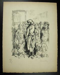 034-Plum-034-La-Merchant-Flowers-Market-199-250-Original-Engraving-Signed-1947