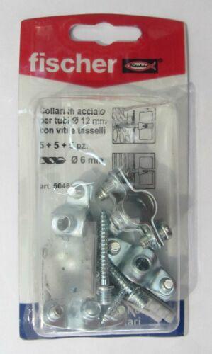 Fischer collari in acciaio per tubi ø 12 mm con viti e tasselli 5+5+5 pz 504622