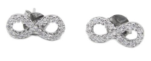 Ohrstecker Ohrringe Infinity Unendlich 925 Sterling Silber 34 Zirkonia Damen NEU