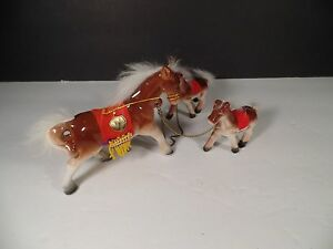 Vintage Pittsburgh Zoo Souvenir Porcalain Horses - Made in Japan