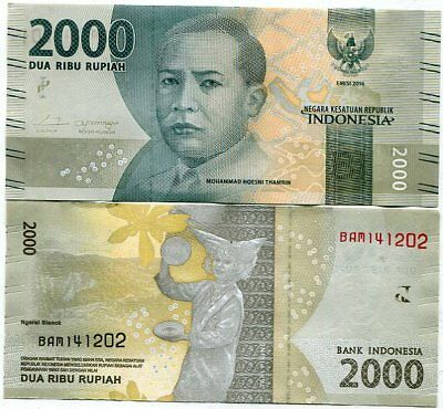 Coins & Paper Money Beautiful Indonesia 2,000 2000 Rupiah 2016 2016 P New Design Unc Easy To Use