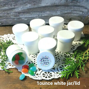 24 White polypropylene Plastic Jars & Screw Tops Containers 1 ounce 4305 USA New
