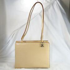 LANCETTI Satchel Handbag Beige Embossed Square Tile Italian Leather