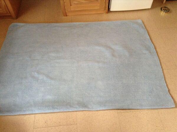 Fleckerlteppich Handwebteppich Hellblau 135/190 Elegant Im Stil