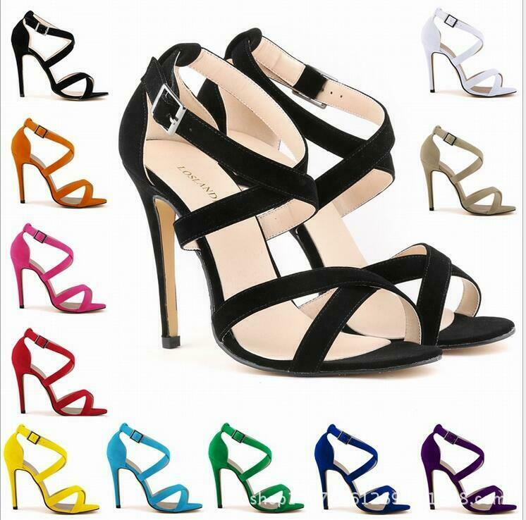 Sweet Womens High Heels Sandals Stilettos Suede Ankle Buckle Open Toe shoes Hot