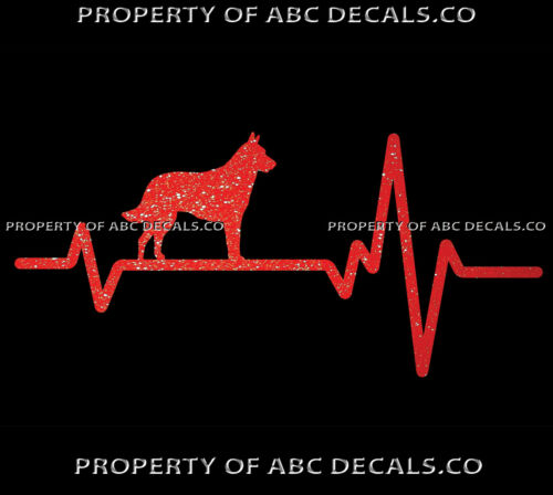 HEART BEAT LINE DOG BELGIAN MALINOIS Puppy Paw adoption Rescue CAR METAL DECAL