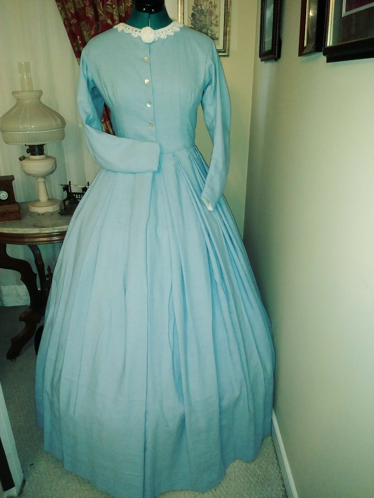 Civil War Reenactment Day Dress Size 10  Light Weight Powder Blue Linen