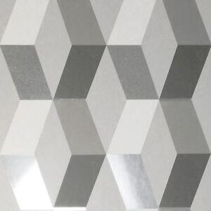 Crown-Luxe-Mayfair-Hatton-Papier-Peint-Geometrique-Gris-Argent-M1470