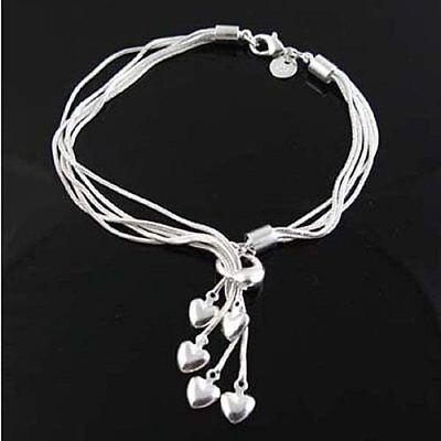 Haben Sie Einen Fragenden Verstand Asamo Damen Armband Mit 5 Herz Anhänger 925 Sterling Silber Plattiert A1067 RegelmäßIges TeegeträNk Verbessert Ihre Gesundheit