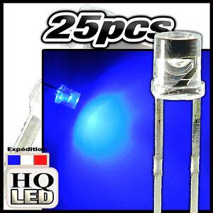 273B//100# giga bright  LED cylindrique 3mm  bleu 100pcs flat top  LED 3mm