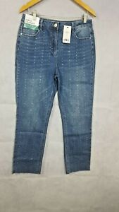 Womens-Jeans-Ladies-Next-High-rise-Ankle-Straight-Blue-Diamonte-Jeans-BNWT