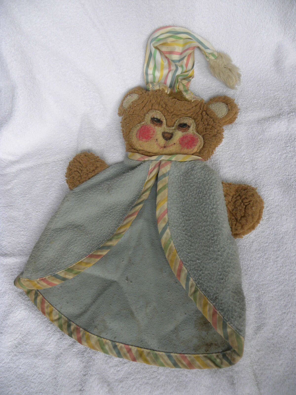 VINTAGE  FISHER PRICE   1404 TEDDY BEAR SECURITY BLANKET - EB51