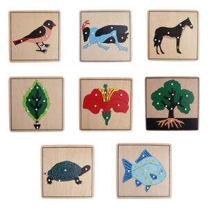8 Montessori Animal Plant Shape Puzzles for Baby Kids Early Educational Toys