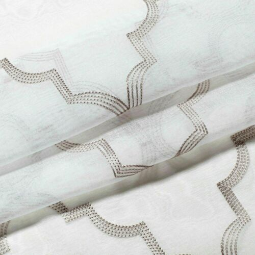 Assorted Colors 2 Pack Shabby Trellis Semi Sheer Clover Grommet Top Curtains