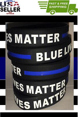 5 Thin Blue Line Bracelet BLUE LIVES MATTER Wristband Support Law Enforcement