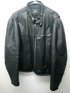 6d9a708a1c89 Details about Vintage 80 s Sears The Men s Store Black 100% Leather  Motorcycle Jacket size 46