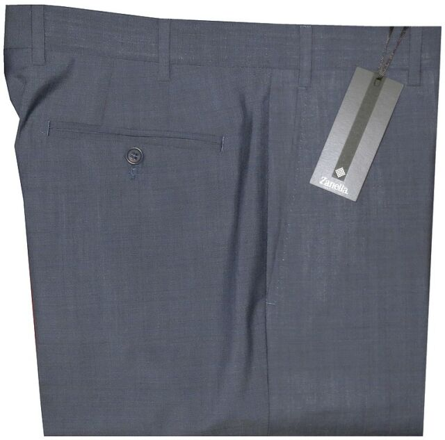 $395 NEW ZANELLA DEVON SOLID BLUE-GRAY SUPER 130'S MADE IN ITALY DRESS PANTS 33