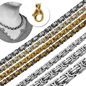 Koenigskette-mit-Armband-Set-Schwarz-Golden-Silbern-Herren-Panzerkette-Edelstahl