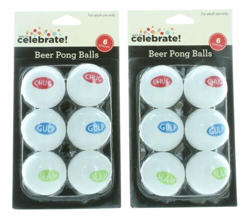 12 ct Beer Pong Balles Blanc Avec Proverbes Drinking Game College Frat Party Nouveauté