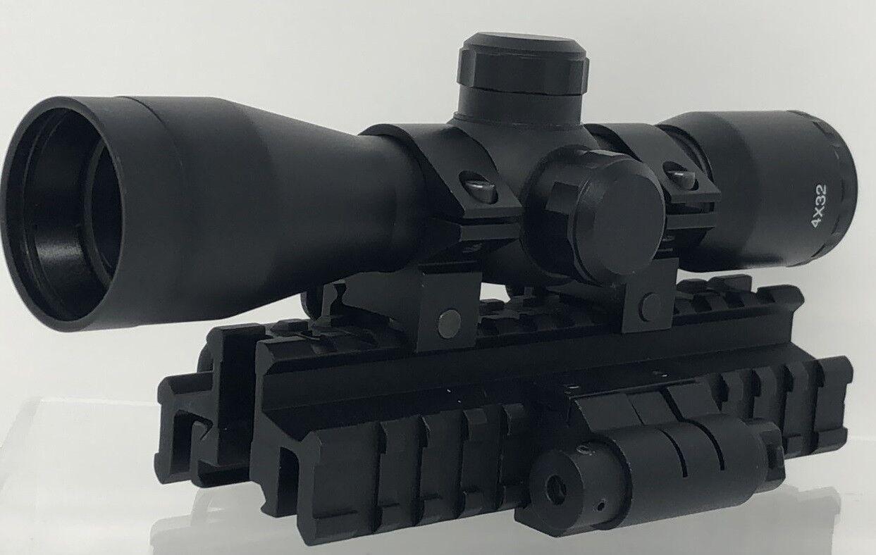 4x32 Scope W P4 Sniper Reticle + 150 Lumen Flash Light + Laser + Riser Mount