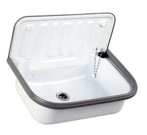 Weißes Waschbecken Für Draussen Garten Keller Waschküche