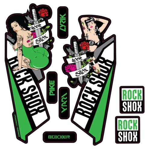 Boxxer Pike Yari DJ Pin up illustration.MTB Lyrik Rock Shox Fork Decals