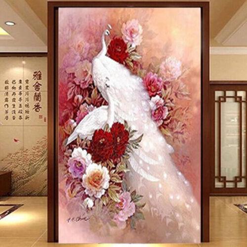 Animales Hágalo usted mismo pintura de Diamante Blanco pavo real 3D puntada cruzada Pared Arte Bordado S