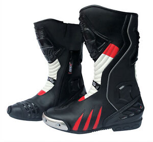 Motorradstiefel-hochwertige-XLS-Racing-Boots-Touringstiefel-schwarz-rot-weiss